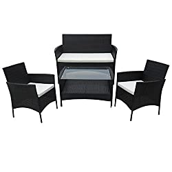 SVITA Poly Rattan Seating Group Dining Set Color Selection - Cube Sofa Set Garden Furniture Lounge Color Choice (4 Set, Black)