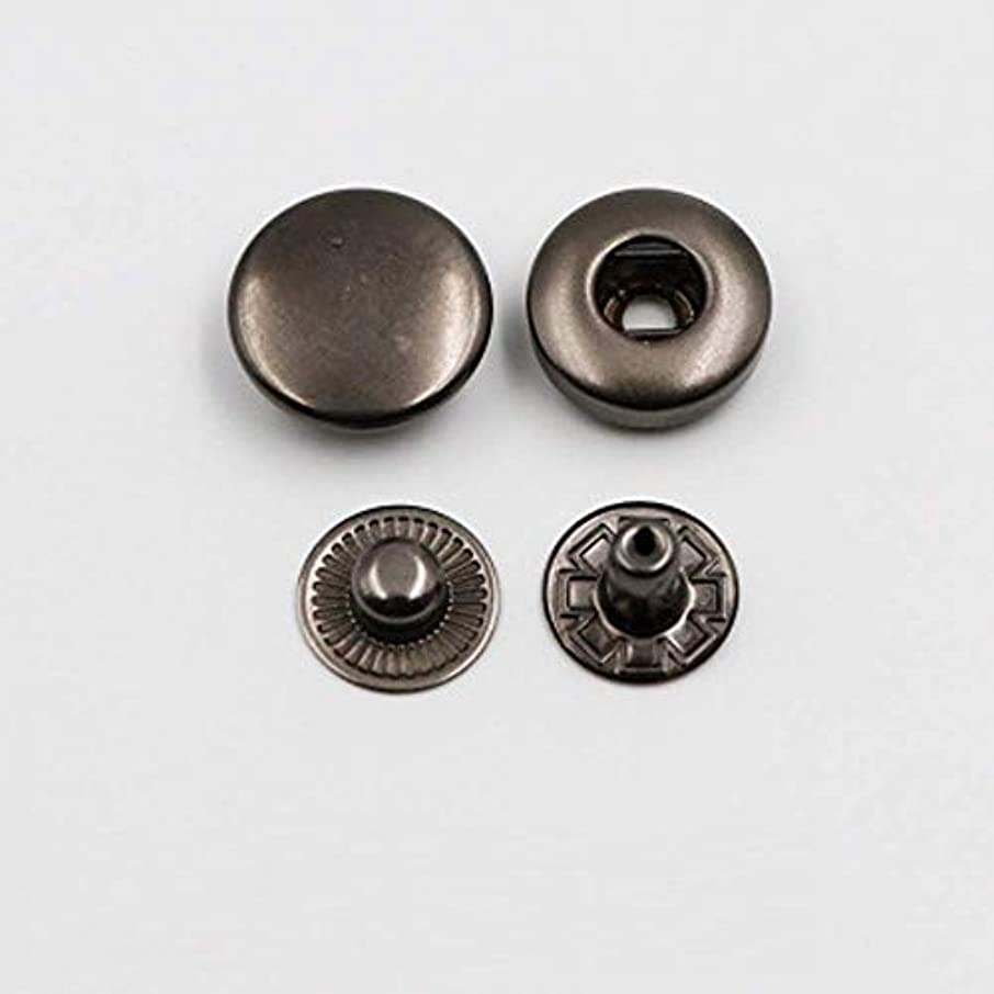 70 Sets 10mm Metal Snap Fasteners (Four-Piece Set)Press Stud Rounded Sewing Rivet Buttons Clothing,Leather, Craft DIY Gun Black