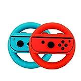 switch controller per volante set di 2, joy-con wheel manopole per switch. (blu e rosso)