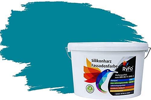 RyFo Colors Silikonharz Fassadenfarbe Lotuseffekt Trend Opal 10l - bunte Fassadenfarbe, weitere Blau Farbtöne und Größen erhältlich, Deckkraft Klasse 1