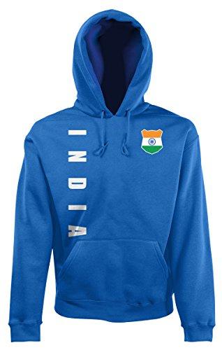 AkyTEX Indien India Kapuzenpullover Hoody Trikot Wunschname Wunschnummer (Royalblau, M)