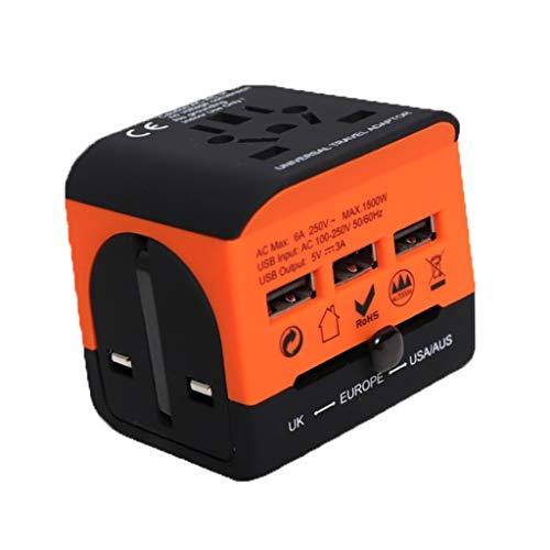 QWZ Enchufe de Adaptador de Viaje Universal con 3 Puertos USB, Dispositivo de Voltaje de Cargador eléctrico para Europa Internacional, China, Reino Unido, Eau, Australia (Color : Black+Orange)