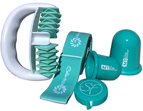 Stephanie Franck Beauty Cellulite Set 3 - ein Massage Roller, zwei Saugglocken S+L, ein Fitnessband (Türkis)