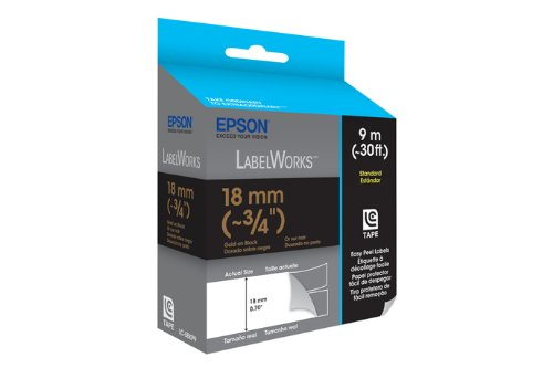 Epson LabelWorks Standard LC Tape Cartridge ~3/4-Inch Gold on Black (LC-5BKP9) Photo #2