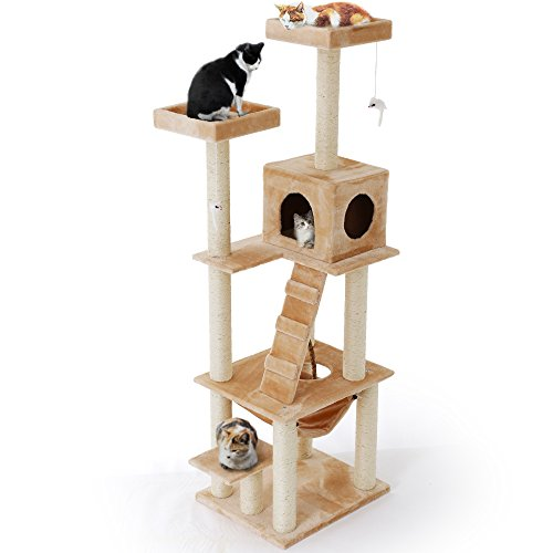 LOWYA キャットタワー おもちゃ ハンモック ハイタイプ 高さ185 ベージュ