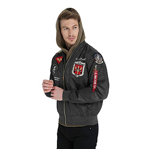 Mens Apollo Space Embroidered Patches Slim Fit Bomber Windbreaker Black NASA Jacket