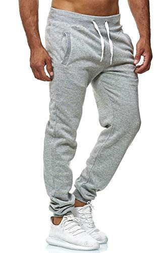EGOMAXX Pantalon de Jogging pour Hommes Sweat Pants Fit & Home vers.1, Taille de Pantalon:L, Couleurs:Gris Claire