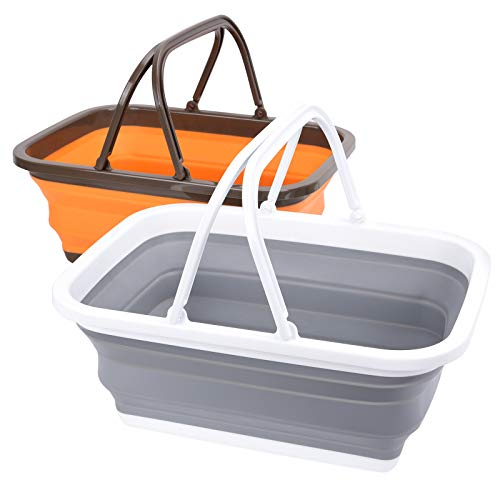 Magesh Collapsible Sink 2 Pack - Outdoor Camping Picnic Basket Each 11L/2.90Gal Wash Basin, Portable Foldable Tub/Basin/Bucket with Sturdy Handle for Washing Dishes, Camping, Hiking and Home