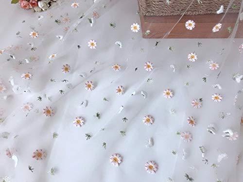 YFB 1 Yard Stickerei Gänseblümchen Blume Tüll Spitze Stoff Transparentes Netzmaterial Für Kleiderrock Kleidung DIY ZubehörWeißes Netz