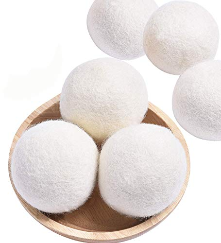 Organic Wool Dryer Balls XL,Handmade Laundry Dryer Balls Reusable Natural Fabric Softener, Dryer Sheets Alternative,100% New Zealand Wool XL Dryer Ball,Reduce Wrinkles (White, 6 Extra Large)