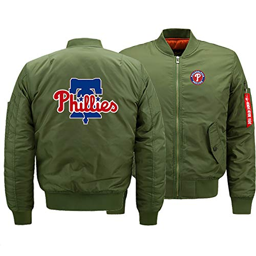 GMRZ MLB Men's Jacket, with Philadelphia Phillies LOGO Major League Baseball Team Sweatshirts Fans Jerseys Sweat Jacket with Warm Winter Outdoor Ski Jacket,D,XL