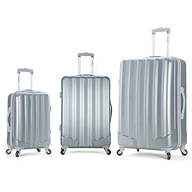 Rockland Luggage 3 Piece Metallic Upright Set, Gt Silver, Medium