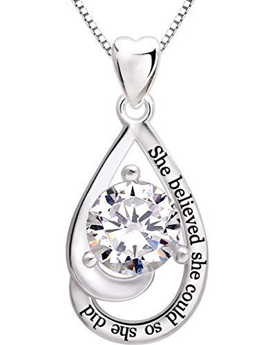 ALOV Jewelry Sterling Silver She believed she could so she did Cubic Zirconia Pendant Necklace