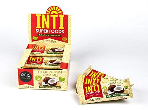INTI SUPERFOODS Barrette di Quinoa Energetiche e Pasto Sostitutivo, Gusto Cocco, 100% Bio, Vegane e Naturali - 12 barrette da 40g