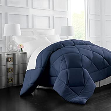 Egyptian Luxury Goose Down Alternative Comforter - All Season - 2100 Series Hotel Collection - Luxury Hypoallergenic Comforter - Full/Queen - Navy