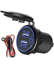 Dual USB Charger Socket Waterproof Car 4.2A snellader Outlet met Touch Switch Blue