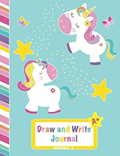 Draw and Write Journal: Grades K-2, Primary Composition Half Page Lined Paper with Drawing Space (8.5
