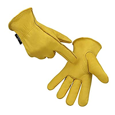 Warterproof cowhide Leather work gloves for logging/farm HY008-5(Medium)