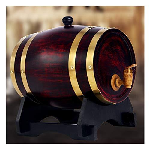 ZSYGFS Barril Roble Barril de Roble Envejecido, Barril de Whisky de Madera Hecho A Mano de 10L Cerveza Brandy Whisky Vino de Oporto (Color : Retro Red, Size : 10L)