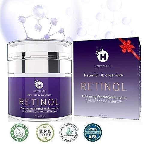 Retinol Feuchtigkeitscreme Creme, Anti-Aging & Anti Falten Creme von HOPEMATE für Gesicht & Augen, für Tag & Nacht, mit 2,5{4e06897ee62f3ce86b25bbd405913ab98563ae7f4868212a47d1209e5a2017c9} Retinol + Hyaluronsäure + Vitamin E + Grüner Tee + Jojobaöl, 50ml