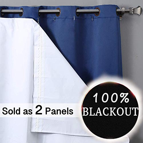 RHF Thermal Insulated Blackout Curtain Liner-Blackout curtain liner for 84 inch curtains Set of 2 Panels-blackout curtain liner white,black out liner,darkening(Hook Included)47W by 77L Inches-White p2