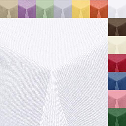 Textil Tischdecke Leinen-Optik 160x320cm eckig mit Fleck-Schutz Weiss *Gastronomiequalität* Farbe wählbar