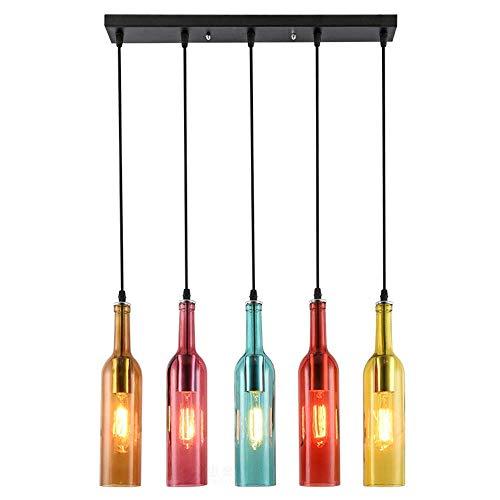 CSD Botella de vino pendiente de la luz retro 5-luz de la lámpara de cristal de color Industrial cortinas de la lámpara que cuelga luces de barra de café restaurante Isla de cocina Comedor
