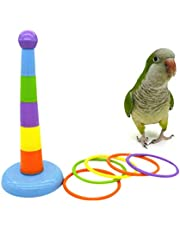 POPETPOP Parrot Educational Toys - Bird Training Toys Bird Ring Toy Intelligence Training Rings Toy for Small Medium Parakeet Cockatiel Conure Lovebird Finch Canary Budgie Random Color