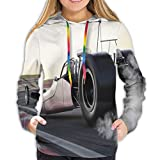 Women's Hoodies Sweatshirts,Dragster Racing Down The Track with Burnout Competition Speed Sports Technology M