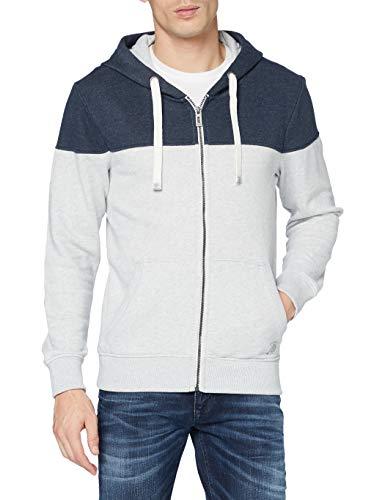 TOM TAILOR Herren Cutline Colorblock Sweatshirt, 15398-Light Stone Grey Mel, XXXL