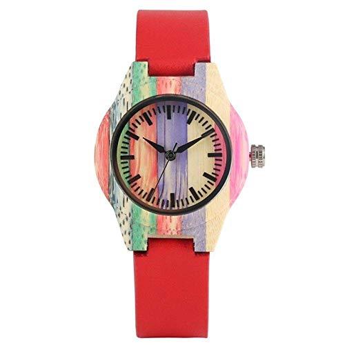 DZNOY Reloj de madera para hombre, reloj de madera de cuarzo, reloj de pulsera de madera, color dulce, reloj de mujer, reloj masculino, regalo de recuerdo, reloj de bolsillo (color rojo cuero)