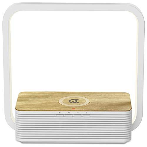 FlinQ Tischlampe mit Wireless Bluetooth QI Ladegerät und Lautsprecher | Bambus-look Lautsprecher & Ladestation | Nachttischlampe Touch Dimmbar