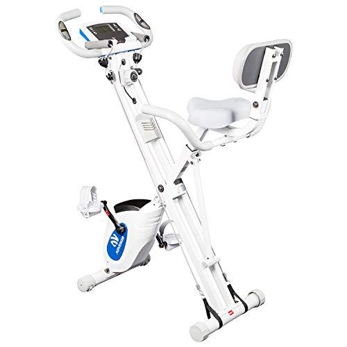 ADVENOR Exercise Bike Magnetic Bike Fitness Bike Cycle Folding Stationary Bike Arm Resistance Band With Arm Workout Backrest Extra-Large Seat Cushion Indoor Home Use(white&blue)