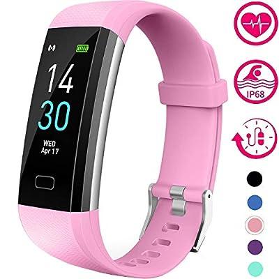 Vabogu Fitness Tracker HR, with Blood Pressure Heart Rate Monitor, Pedometer, Sleep Monitor, Calorie Counter, Vibrating Alarm, Clock IP68 Waterproof for Women Men (Purple)…
