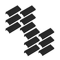 80mm / 3.15インチブラックマウントフィンガープル隠しハンドルホームキッチンドア引き出しキャビネット(12個)