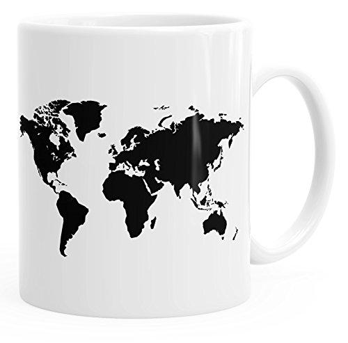 Autiga Kaffee-Tasse Weltkarte World Map Teetasse Keramiktasse weiß Unisize