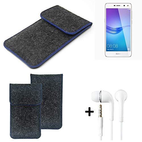 K-S-Trade Filz Schutz Hülle Für Huawei Y6 (2017) Dual SIM Schutzhülle Filztasche Pouch Tasche Handyhülle Filzhülle Dunkelgrau, Blauer Rand Rand + Kopfhörer