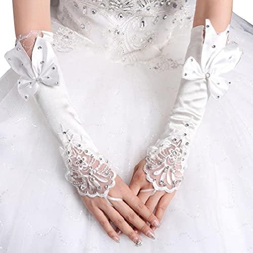 Hero-s - Guantes largos de novia para mujer, sin dedos, con encaje floral, retales, con purpurina, diamantes de imitación, gran lazo, hasta el codo, gancho, calentador de dedos, boda, elegante guantes