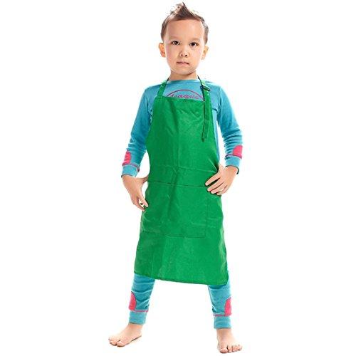 LissomPlume Kind Malschürze Kunstkittel Kinderschürze Arbeitsschürze Painting Bastelschürze Werkenschürze - Grün