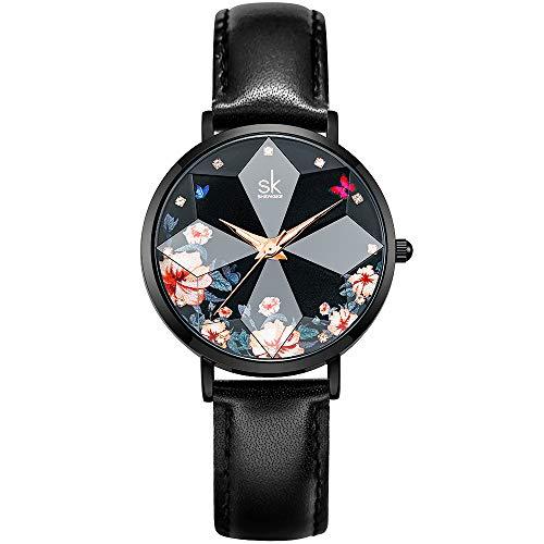 SHENGKE Estrella Reloj de Pulsera para Mujer, Correa de Malla, Elegante, para Mujer, Estilo Simplicidad,Flores(Flower- Genuine Leather-Black)