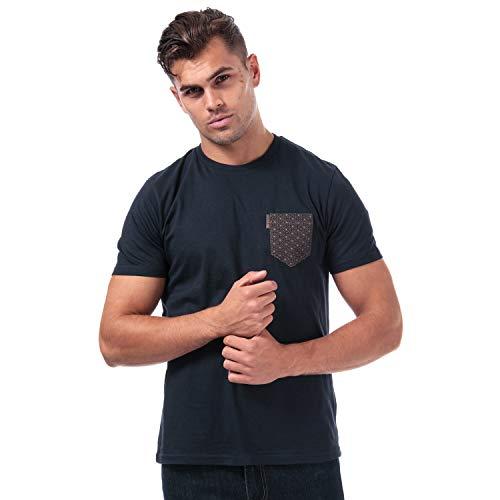 Mens Ben Sherman Geo Floral Printed Pocket T-Shirt in Navy