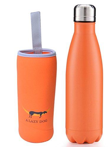 Bouteille d'eau Sport Thermos Bouteille d'eau 481,9 gram à double paroi en acier inoxydable en forme de Cola Bouteille d'eau Sports de plein air, Orange