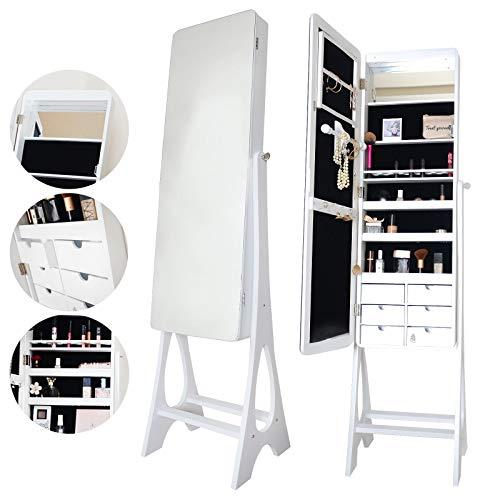 Alexandra Luxe - Witte staande spiegelkast van volledige lengte met LED-verlichting en 6 lades Planken Opslag voor make-up slaapkamer cosmetica