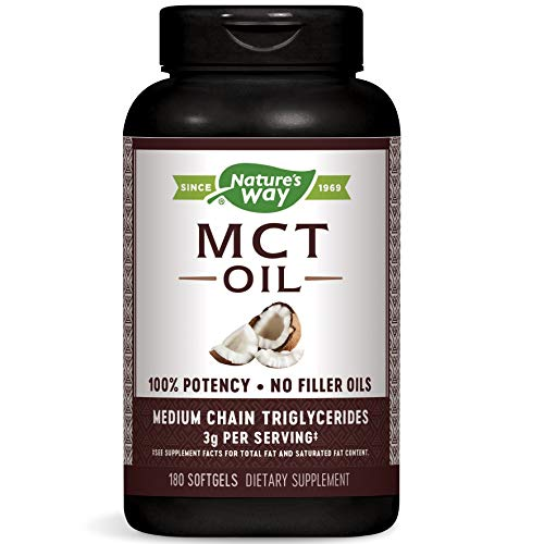 Nature's Way MCT Oil Softgels - 100% potency, 3 g of MCTs per serving, gluten-free, no palm or filler oils, hexane-free, flavorless, odorless - 180 softgels
