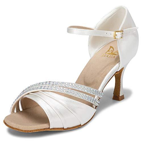 JIA JIA 20524 Damen Sandalen Ausgestelltes Heel Super-Satin Latein Strass Tanzschuhe Farbe Elfenbein,Größe 37 EU