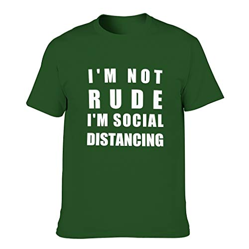 "Harberry Camiseta de algodón para hombre con texto en inglés ""I'm Not Rude I'm Social Distancing"
