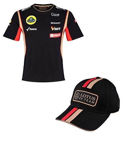 T Camisa & Cap Fórmula Uno 1Lotus F1Team pedevesa patrocinador 2014/5, Hombre, Negro