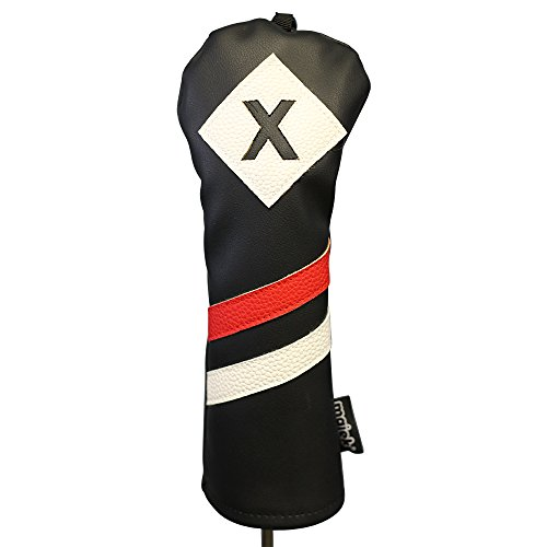 Majek Retro Golf Headcovers Black Red and White Vintage Leather Style 1 3 X H Driver Fairway and Hybrid Head Covers Fits 460cc Drivers Classic Look