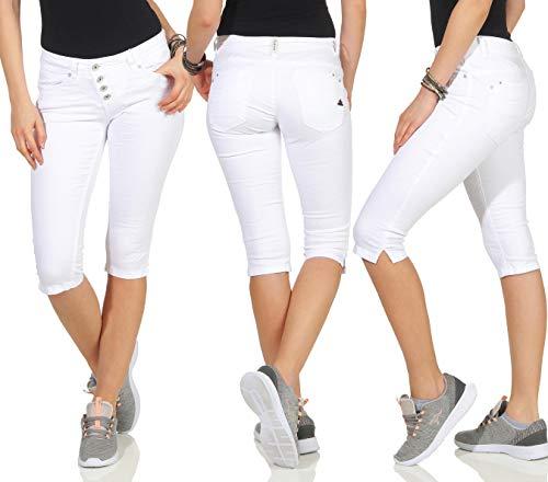 Buena Vista Damen Jeans Malibu Capri Stretch Twill Kurze Hose Knielang Knopfleiste Weiß XS