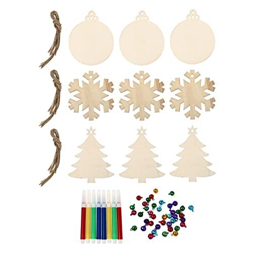 FAVOMOTO 1 Juego DIY Adornos de Navidad de Madera Rebanadas de Madera Preperforadas sin Terminar Discos Redondos Rústicos Copos de Nieve Recortes de Árbol de Vacaciones Decoración Colgante